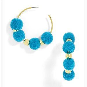 Baublebar blue Havana Teal pom pom hoop earrings